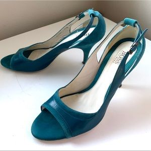 HUGO BOSS teal slingback open toe heels